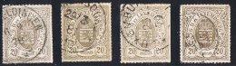 Percé En Lignes Colorées   20 Cent 4 Nuances  Oblitérés - 1859-1880 Coat Of Arms