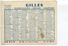 Rouen Quincaillerie Gilles Rue Des Carmes - Calendrier 1957 (2scans) - Unclassified