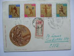 1964 POLAND TOKYO OLYMPICS FDC REGISTERED RZESZOW TO SOBOTKA CZECHOSLOVAKIA WITH ADDITIONAL WARSAW MARKS - 1944-.... Republic