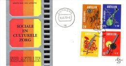 ANTILLES NEERLANDAISES. N°408-11 De 1970 Sur Enveloppe 1er Jour (FDC). Plume/Cinéma/Radio/Télévision.