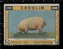 Old Original German Poster Stamp (advertising Stamp, Cinderella, Reklamemarke, Vignette)  Pig Schwein Farm, Bauernhof, - Farm