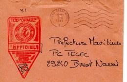 TCD ORAGE Cachet Officiel (enveloppe Mal Ouverte) Obl. Brest Naval 05/08/91 - Poste Navale