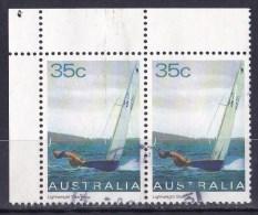 Australia 1981 Yachts 35c Lightweight Sharpie Corner Pair Used - 1980-89 Elizabeth II