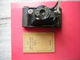 ANCIEN APPAREIL PHOTO  ET SON MANUEL EN FRANCAIS  KODAK  HAWK EYE  FOLDING N° 2  A BOBINE MODELE B MADE IN U S A - Cameras