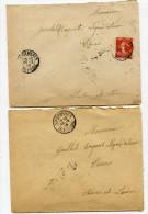 INDRE ET LOIRE De SAVONNIERES Cachet A3 Sur 2 Env. De 1908 - Postmark Collection (Covers)