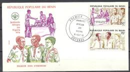 Benin Republique 1976 FDC Premier Jour Mi 55 56 Yv 370 371 Jamborée Africain Jos Nigeria 16 Aout Cotonou - Benin – Dahomey (1960-...)