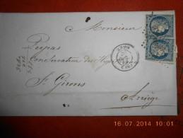 AD-2_superbe Lettre Avec 2 N° 4 Nuance Tres Foncé;voir Photo - 1849-1850 Cérès