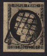 N° 3 - Ceres 20c Noir - Oblitéré Grille - Petit Bd De Feuille - 1849-1850 Ceres