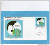 NOUVELLE CALEDONIE- ENVELOPPE  PREMIER JOUR-illustrée -philatélie à L'école Du 21 Oct 1987 N° 545 - Briefe U. Dokumente