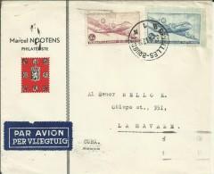 BELGICA CC BRUSELAS A LA HABANA CUBA AL DORSO MAT AZUCAR CUBANO Y TABACO CUBANO 1947 - Tabaco