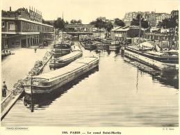 Ref 429- Photographie- Tirage Cartonné - Années 1930 -paris -le Canal Saint Martin - Peniches -theme Peniche  - - Non Classificati