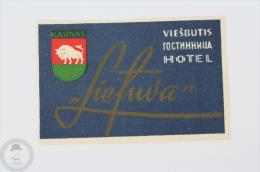 Hotel Viesbutis Kaunas - Lithuania - Original Hotel Luggage Label - Sticker - Etiketten Van Hotels