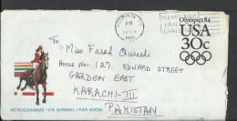 USA Aerogramme Olympics 1984 30c, Slogan Cancel, Posted From USA To Pakistan. - Brieven En Documenten