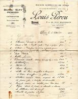 FACTURE  HALLES CENTRALES DE PARIS   LOUIS PEROU Beurre,Oeufs,Fromages,Con Serves  AOUT 1923 B - Alimentaire