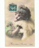 CPA-1912-FANTAISIE-BONNE ANNEE-UNE PETITE FILLE AVEC UNE FOURRURE DOUCE- - Nouvel An