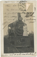 Real Photo Close Up Train In Burlington 1906 Defaut - Burlington