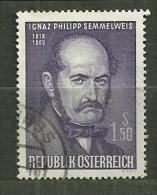 """Autriche Oblitéré ; Y & T N° 1028 ; """" Ignaz Philipp Semmelweis """" - 1961-70 Oblitérés"""