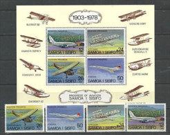 Histoire De L´Aviation. Le Concorde,Boeing 737,Kitty Hawk,etc.  4 T-p Neufs ** + Un BF Neufs ** ILES SAMOA - Aerei