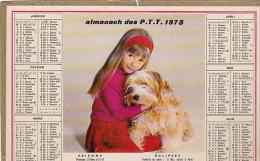 ALMANACH DES PT T 1975 Demi Format Scénes Enfants Et Animaux - Tamaño Grande : 1971-80
