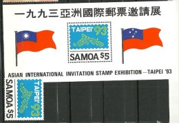SAMOA-TAIWAN. (Taipei 93) . Un B-F  + Un T-p Neufs ** * Des ILES SAMOA. Côte 24 € - Joint Issues