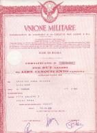 AZIONE UNIONE MILITARE COOP.VA DI CONSUMO - ROMA CERTIFICATO PER DUE AZIONI CON ALLEGATE CEDOLE - EMESSO IL 10.7.1970 - Azioni & Titoli