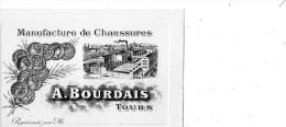 TOURS MANUFACTURE DE CHAUSSURES A. BOURDAIS  CARTE DE REPRESENTANT - Tours