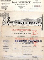 Merksem  4 Facturen 1928/1938 Borrewater/Trammezand/Bredabaan/Van Praetlei - België