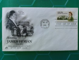 1981 Joint USA / Ireland James Hoban Death 150th Anniv. Artcraft FDC With Single 18c US Stamp - Emissions Communes
