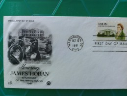 1981 Joint USA / Ireland James Hoban Death 150th Anniv. Artcraft (P.C.S) FDC With Single 18c US Stamp - Emissions Communes