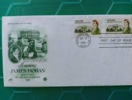1981 Joint USA / Ireland James Hoban Death 150th Anniv. Artcraft Dual FDC With Both 18c & 20c US Stamps - Emissions Communes