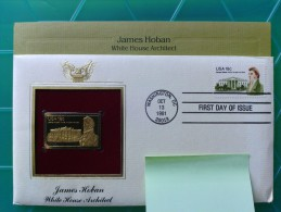 1981 Joint USA / Ireland James Hoban Death 150th Anniv. Postal Commem. Socy. 18c FDC With 22kt Gold Replica Stamp - Emissions Communes