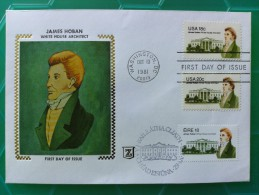 1981 Joint USA / Ireland James Hoban Death 150th Anniv. Fine Silk Portrait Cachet With All 3 Stamps / Both Countries - Emissions Communes