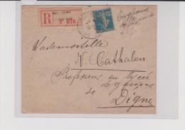 1919- SAVOIE - ENVELOPPE RECOMMANDÉE De MOUTIERS TARENTAISE - 1877-1920: Période Semi Moderne