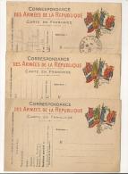 3 CARTES EN FRANCHISE. Correspondance Des Armées De La République. - Cartes De Franchise Militaire
