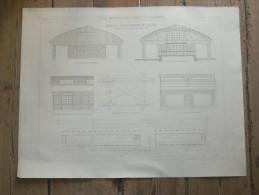 RHEIMS   LES HALLES A MARCHANDISES DU CHEMIN DE FER 1875 METIER ARCHITECTE DESSIN ECOLE IMPERIALE PONTS ET CHAUSSEES - Architecture