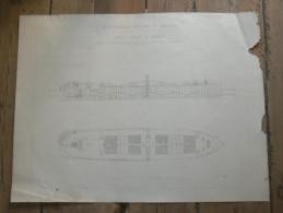 SAINT NAZAIRE  LA DRAGUE  BATEAU POMPEUR ET PORTEUR   1875 METIER ARCHITECTE DESSIN ECOLE IMPERIALE PONTS ET CHAUSSEES - Architecture