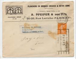 """1924 - ENVELOPPE COMMERCIALE ILLUSTREE RECTO VERSO Avec MECA """"JEUX OLYMPIQUES PARIS MAI JUIN JUILLET 1924"""" - Storia Postale"""