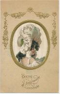 Art Nouveau Tres Belle Femme Gaufrée Dorée Peinte Sur Soie - Cartoline