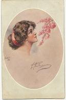 Superbe Visage De Femme Signée Oilette Connoisseur No 1270 Bluhende Jugend - Illustrateurs & Photographes