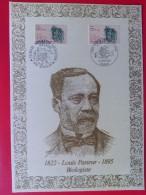 1985 France - Encart Sur Soie / Silk Presentation Card (FDC) # 96 Louis Pasteur (Medicine) - FDC