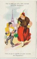 Comique Grosse Femme Et Mari Esclave Souvenir Exposition Tour Eiffel - Exposiciones