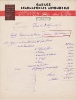 FACTURE 31 Mars 1950 -  GARAGE BEAUMARCHAIS PARIS XI ème - Papeterie De France Voiture Delahaye - - Automobile