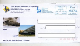 Lettre Flamme Neopost Lucon Lycee Agricole Horticole Illustre Vue Lycee - Marcophilie (Lettres)