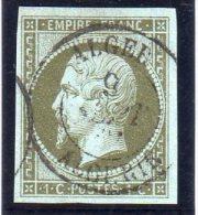 """FRANCE : N°11  . EMPIRE NON DENT . 1860 . OBL CAD """" ALGER """" . TB . SIGNE BRUN . - Marcophily (detached Stamps)"""