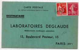 1937 - CARTE COMMERCIALE LABORATOIRES DEGLAUDE Avec SEMEUSE + PAIX ANNULES A L'ARRIVEE - France