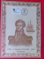 1988 France - Encart Sur Soie / Silk Presentation Card (FDC) # 135 J.Dumont D'Urville (Explorer) - FDC