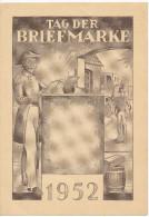 """1952 FDC-kaart Saar """"Saarbrucken Tag Der Briefmarke"""" PZ277 Verzonden Naar Berlijn !!hoekplooitje!! Zie Scan(s) - [7] Federal Republic"""