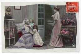 Fillette Avec Leur Grand´mère Et Leur Mère, Scène De Famille, 1909, Photo Sazerac, éd. Croissant N° 3466, Robes, Mode - Gruppen Von Kindern Und Familien