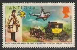 Antigua 1974 Mi 323 YT 325 Sc 334 ** English Postman, Mailcoach, Westland Dragonfly Helicopter/Hubschrauber, Postkutsche - Postkoetsen