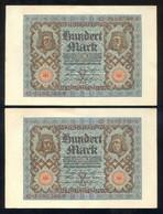 Alemania. República De Weimar. 100 Mark. 1 Nov. 1920. Serie Y. Dos Billetes Correlativos. - [ 3] 1918-1933 : República De Weimar